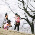三姉妹とママの桜色フォト。遊びの合間に自然体の写真(撮影会/東京練馬)